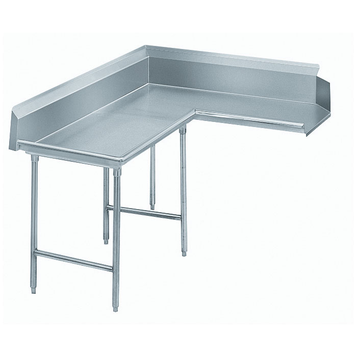 "Advance Tabco DTC-K60-144L 143"" Komer Clean Dishtable - L-Shape, Galvanized Legs, R-L, 14-ga 304-Galvanized"