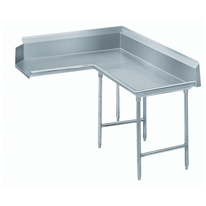 "Advance Tabco DTC-K60-144R 143"" Komer Clean Dishtable - L-Shape, Galvanized Legs, L-R, 14-ga 304-Galvanized"