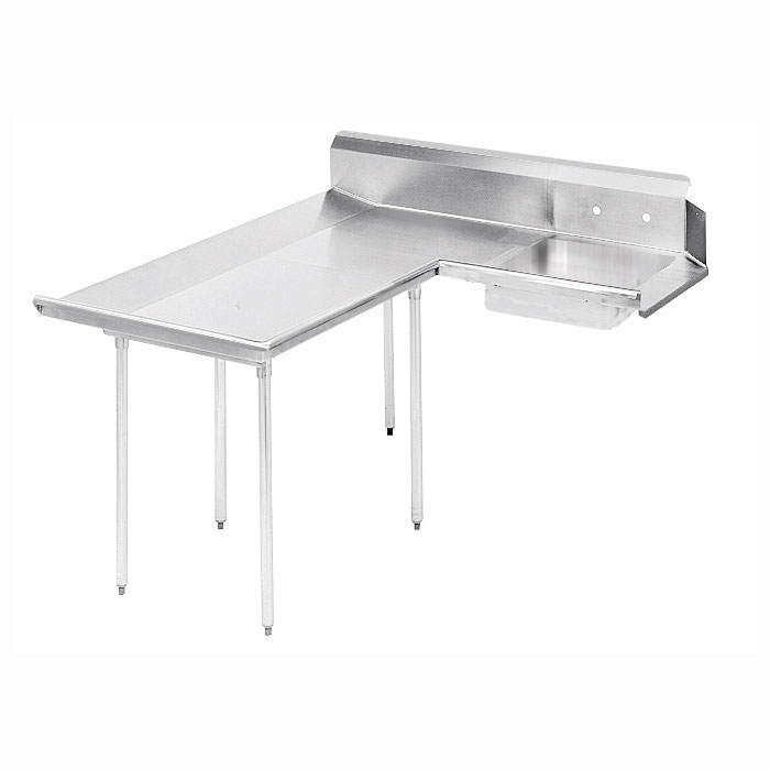 "Advance Tabco DTS-D30-84L 83"" L-R Dishlanding Soil Dishtable - 10.5"" Backsplash, Stainless Legs"
