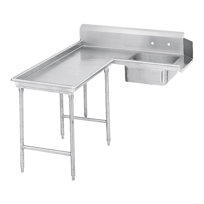 "Advance Tabco DTS-G60-144L 143"" L-R Island Soil Dishtable - 10.5"" Backsplash, Galvanized Legs, 14-ga Stainless"