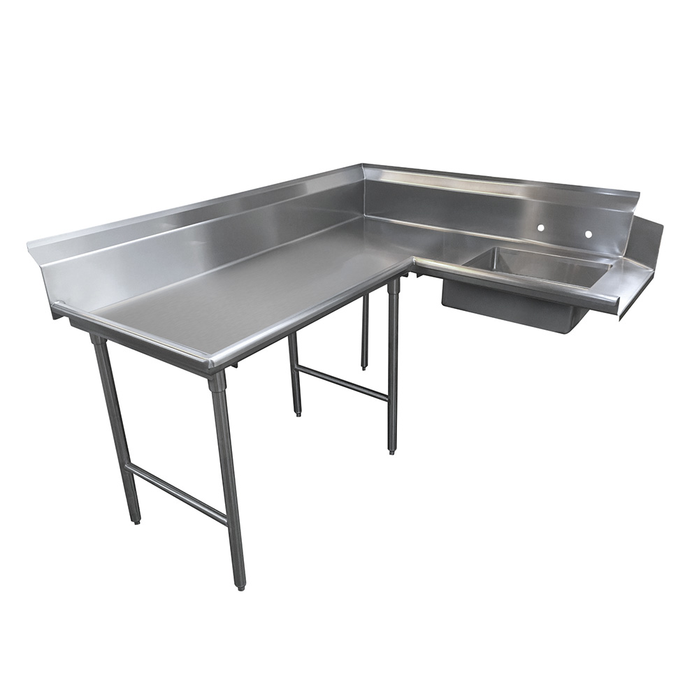 "Advance Tabco DTS-K30-72L 71"" L-R Korner Soil Dishtable - 10.5"" Backsplash, Stainless Legs, 14-ga Stainless"