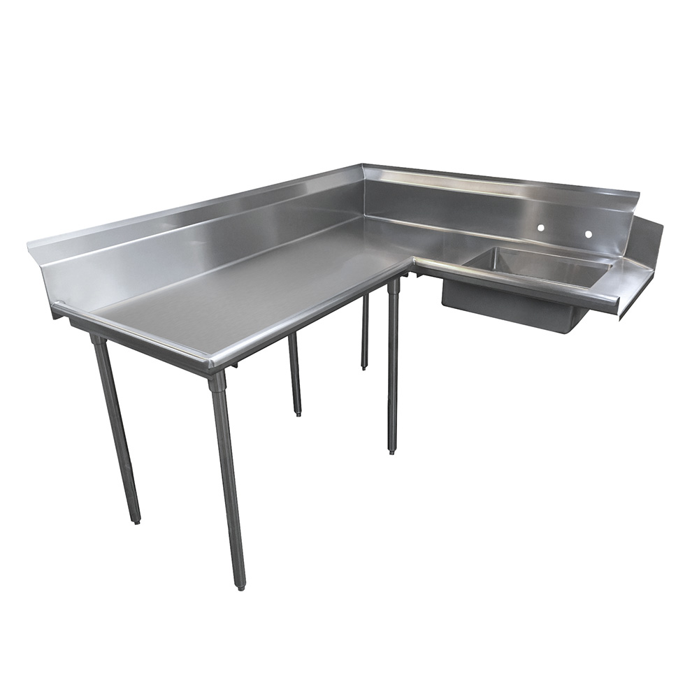 "Advance Tabco DTS-K60-48L 47"" L-R Korner Soil Dishtable - 10.5"" Backsplash, Galvanized Legs, 14-ga Stainless"