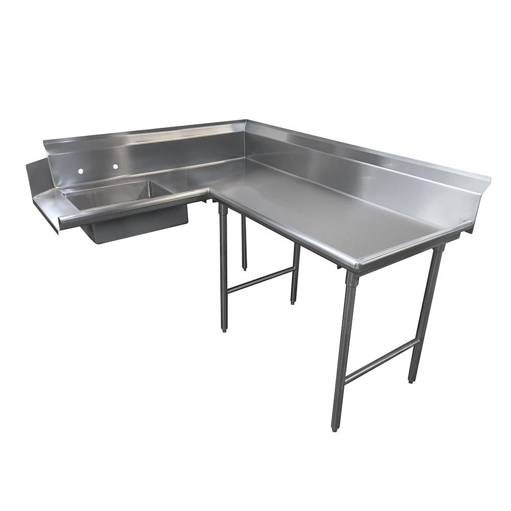 "Advance Tabco DTS-K60-72R 71"" R-L Korner Soil Dishtable - 10.5"" Backsplash, Galvanized Legs, 14-ga Stainless"