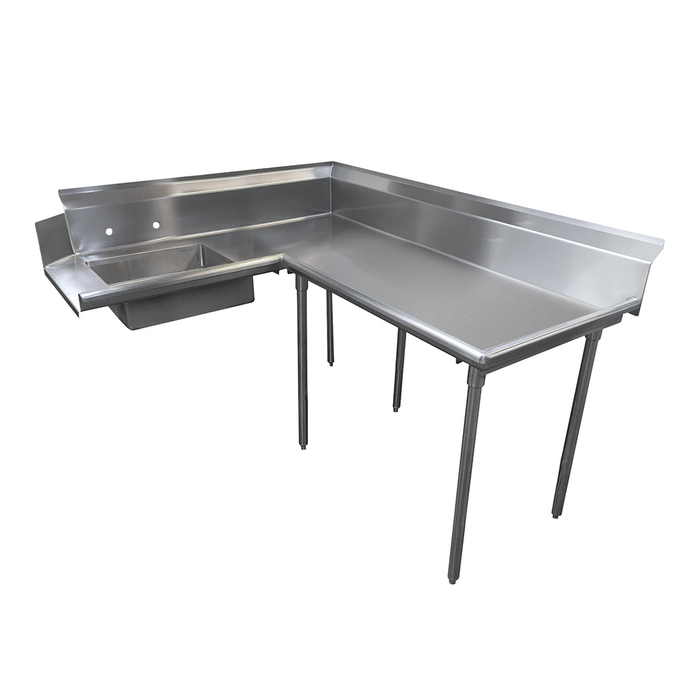 "Advance Tabco DTS-K60-84R 83"" R-L Korner Soil Dishtable - 10.5"" Backsplash, Galvanized Legs, 14-ga Stainless"