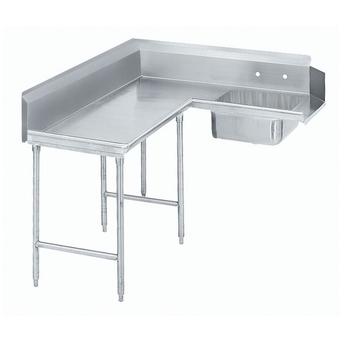 "Advance Tabco DTS-K70-96L 95"" L-R Korner Soil Dishtable - Crossrails, Stainless Legs, 14-ga 304-Stainless"