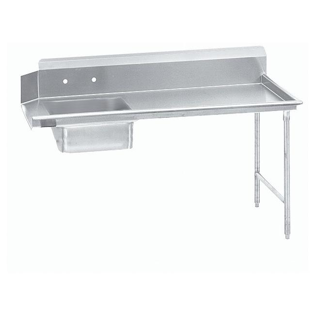 """Advance Tabco DTSS3096R 95"""" R-L Straight Soil Table - 10.5"""" Backsplash, Stainless Legs, 14-ga 304-Stainless"""