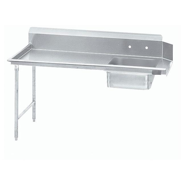 "Advance Tabco DTS-S60-120L 119"" L-R Straight Soil Table - 10.5"" Backsplash, Galvanized Legs, 14-ga 304-Stainless"
