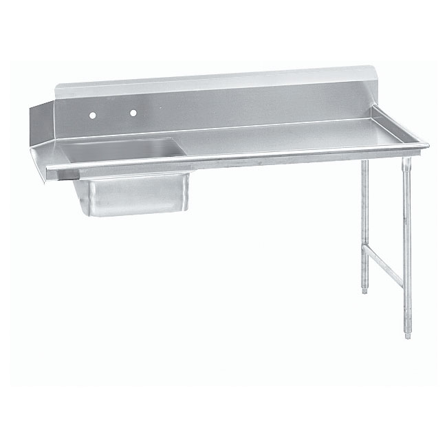 "Advance Tabco DTS-S60-144R 143"" R-L Straight Soil Table - 10.5"" Backsplash, Galvanized Legs, 14-ga 304-Stainless"