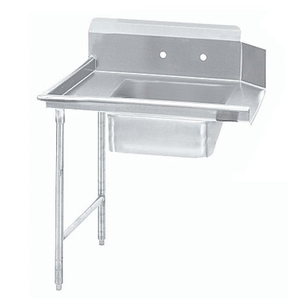 "Advance Tabco DTS-S60-36L 35"" R-L Straight Soil Table - 10.5"" Backsplash, Galvanized Legs, 14-ga 304-Stainless"