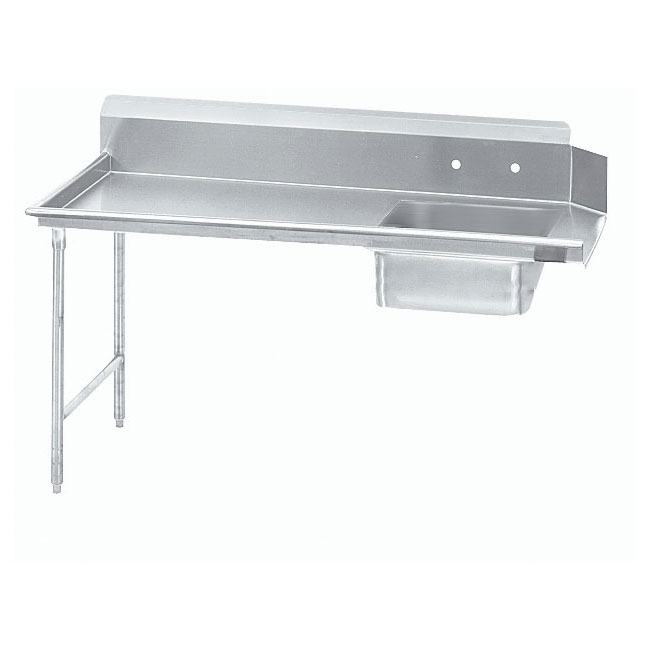 "Advance Tabco DTS-S70-144L 143"" L-R Straight Soil Dishtable - 10.5"" Backsplash, Stainless Legs, 16-ga Stainless"
