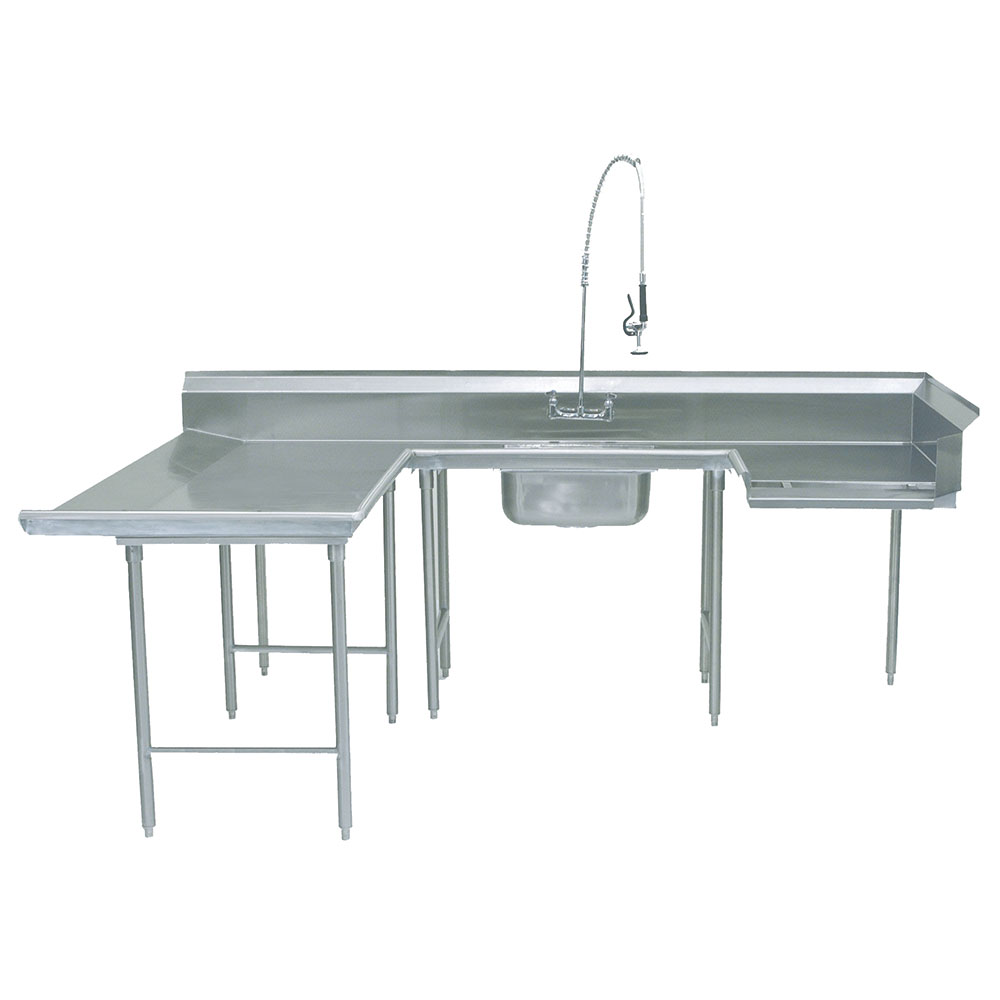 "Advance Tabco DTS-U30-144L Soiled L-R Dishtable - U Shape, Stainless Legs, 59x108x144"", 16-ga 304-Stainless"