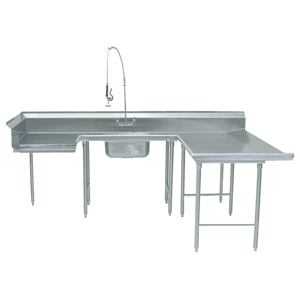 "Advance Tabco DTS-U30-96R Soiled R-L Dishtable - U Shape, Stainless Legs, 59x108x96"", 16-ga 304-Stainless"
