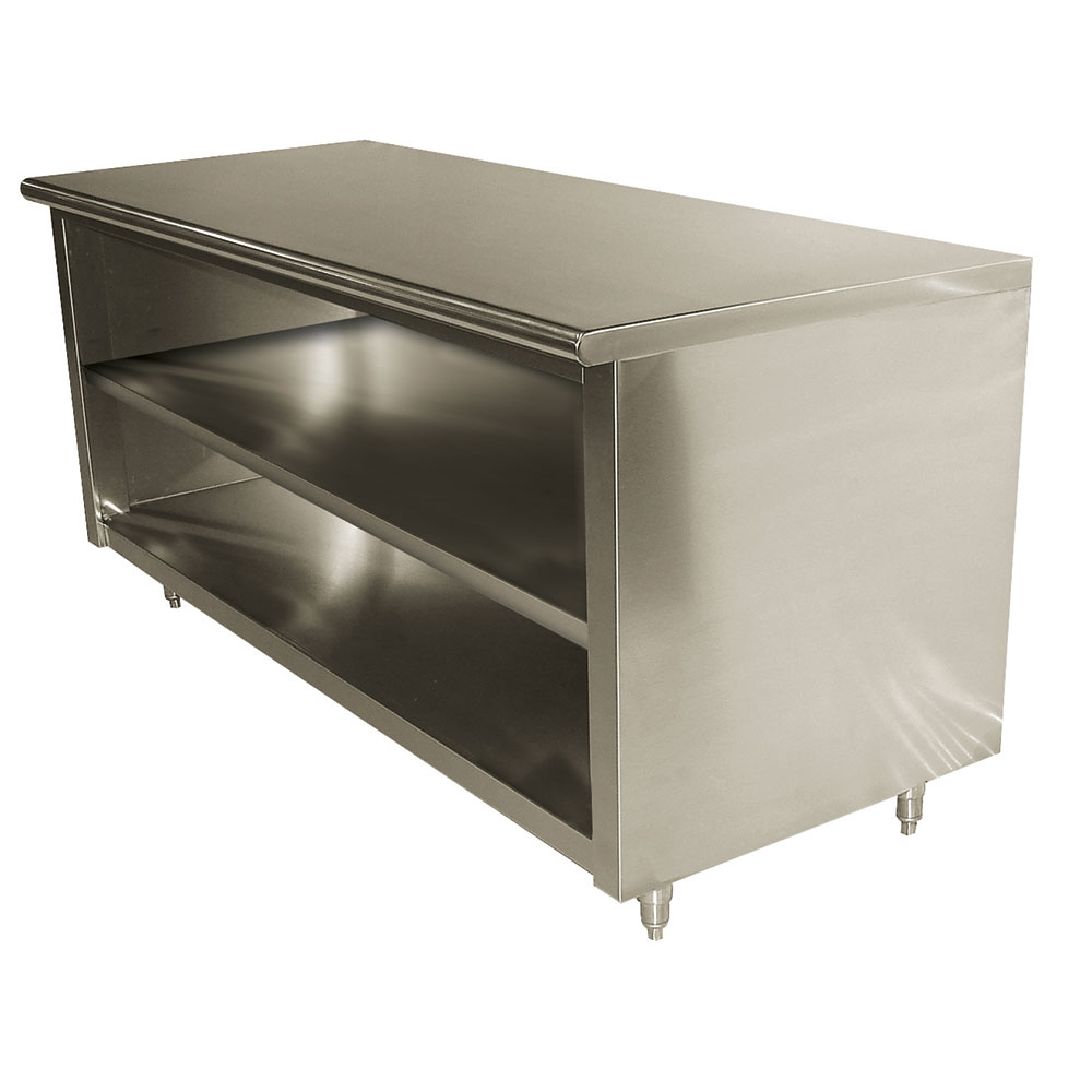 "Advance Tabco EB-SS-245M 60"" Enclosed Work Table w/ Open Base & Midshelf, 24""D"