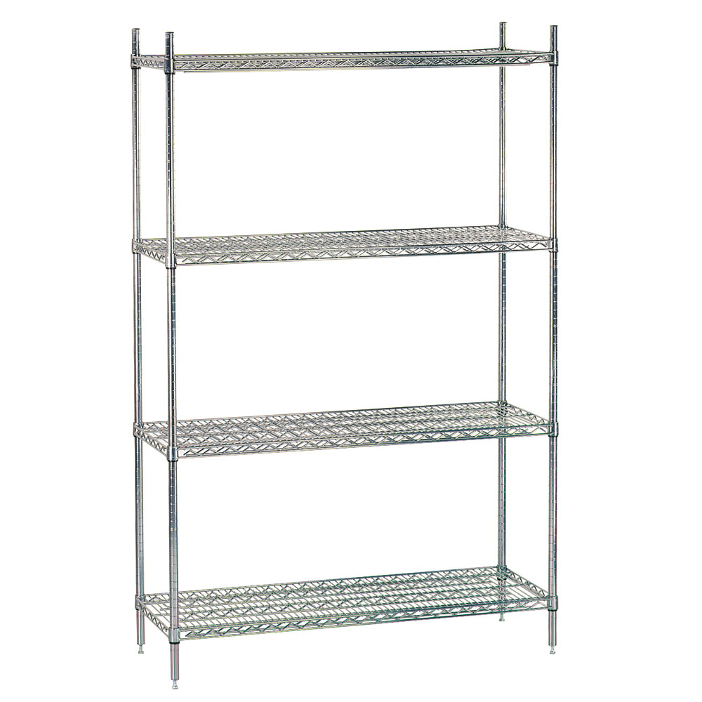 Advance Tabco ECC-1436 Chrome Wire Shelving Unit w/ (4) Levels, 14x36x74""