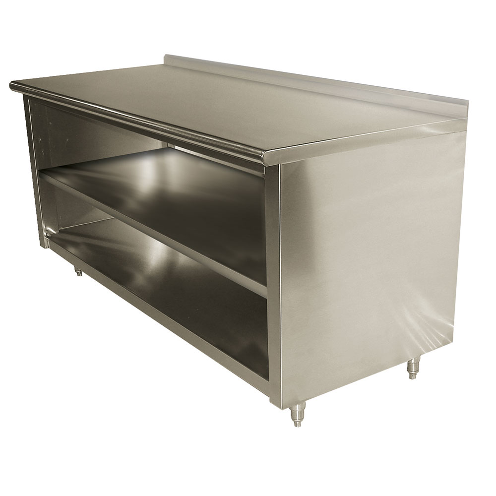 "Advance Tabco EF-SS-2410M 120"" Enclosed Work Table w/ Open Base & Midshelf, 1.5"" Backsplash, 24""D"