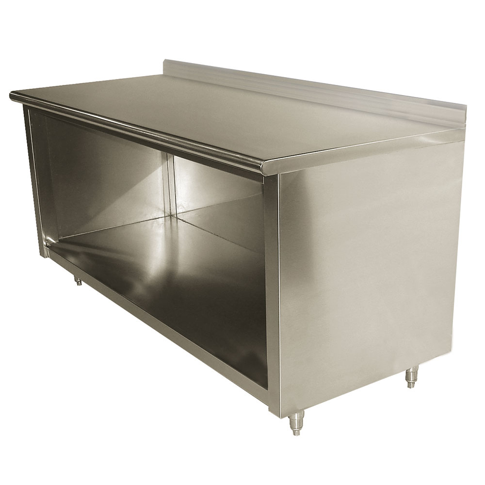 "Advance Tabco EK-SS-2410 120"" Enclosed Work Table w/ Open Base & 5"" Backsplash, 24""D"