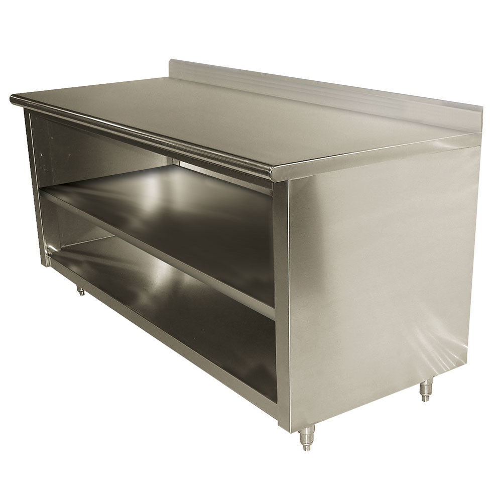 "Advance Tabco EK-SS-2410M 120"" Enclosed Work Table w/ Open Base & Midshelf, 5"" Backsplash, 24""D"