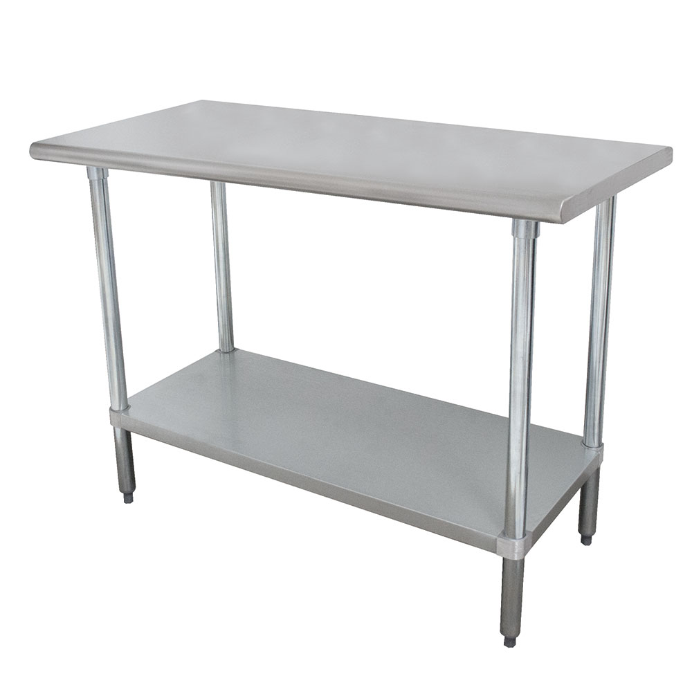 "Advance Tabco ELAG-248 96"" 16-ga Work Table w/ Undershelf & 430-Series Stainless Flat Top"