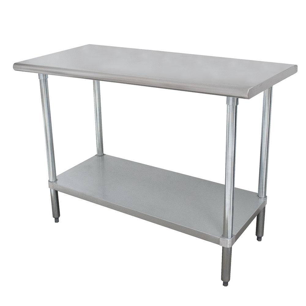 "Advance Tabco ELAG-368 96"" 16-ga Work Table w/ Undershelf & 430-Series Stainless Flat Top"