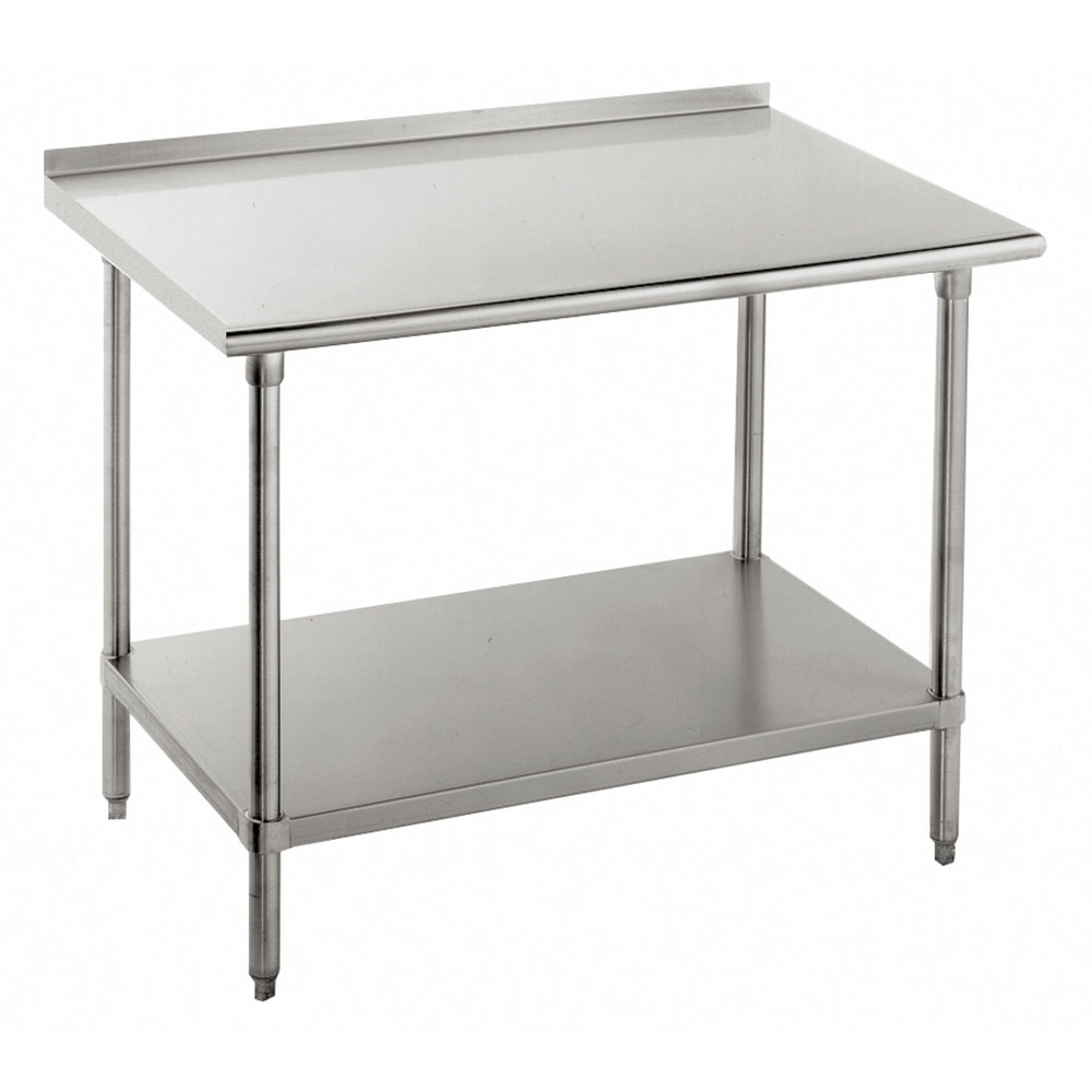 "Advance Tabco FAG-307 84"" 16-ga Work Table w/ Undershelf & 430-Series Stainless Top, 1.5"" Backsplash"