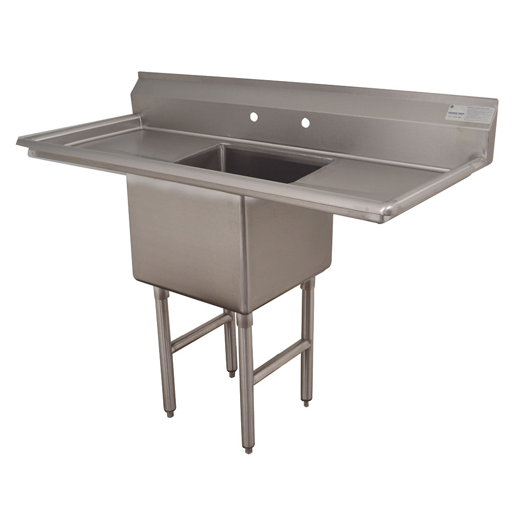 "Advance Tabco FC-1-1824-18RL 54"" 1-Compartment Sink w/ 18""L x 24""W Bowl, 14"" Deep"