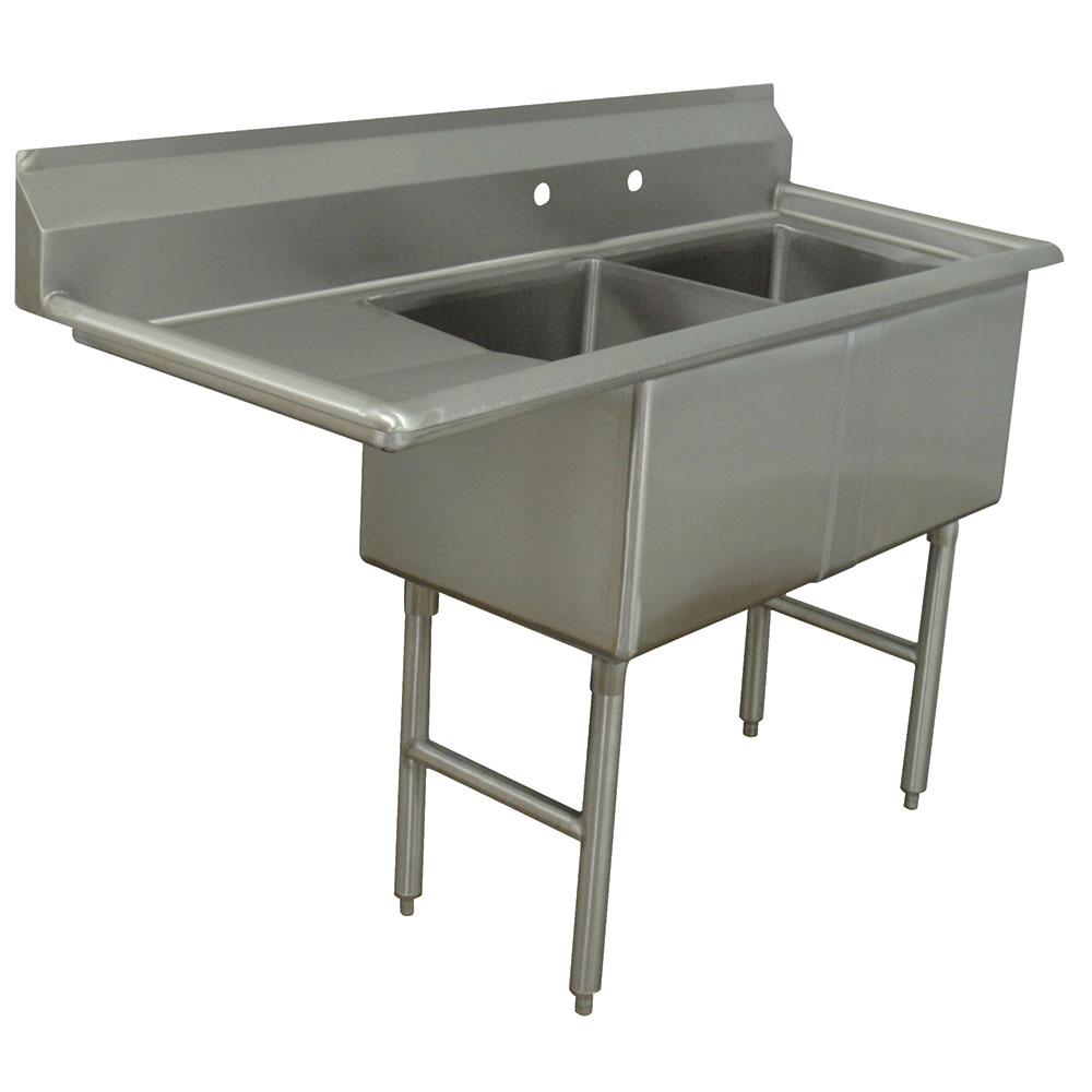 "Advance Tabco FC-2-1620-18L Fabricated Sink - 18""Left  Drainboard, 2-Bowl, 16-ga 304-Stainless Steel, LR"