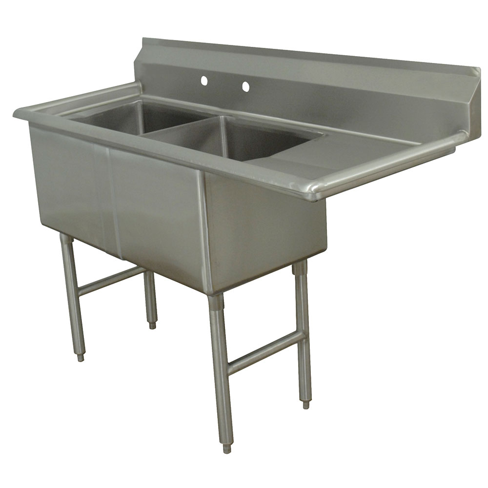 "Advance Tabco FC-2-1620-18R Fabricated Sink - 18"" Right Drainboard, 2-Bowl, 16-ga 304-Stainless Steel, LR"
