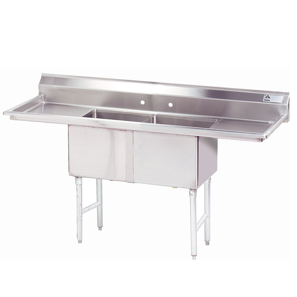 "Advance Tabco FC-2-1620-18RL 68"" 2-Compartment Sink w/ 16""L x 20""W Bowl, 14"" Deep"