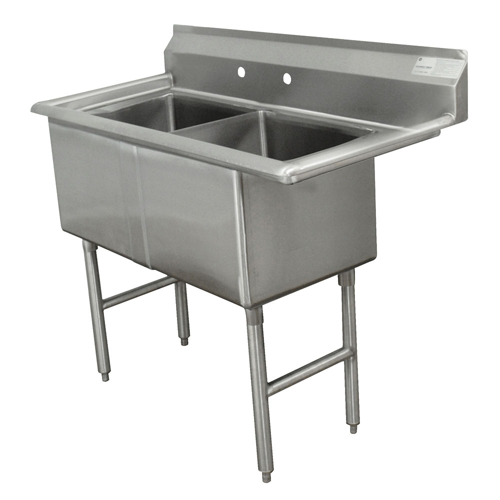 "Advance Tabco FC-2-1620 37"" 2-Compartment Sink w/ 16""L x 20""W Bowl, 14"" Deep"