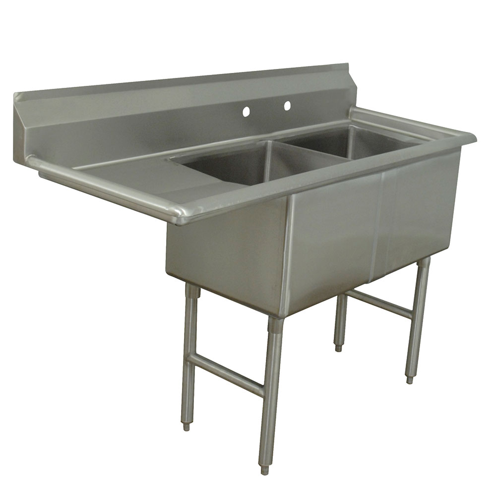 "Advance Tabco FC-2-1818-18L 56.5"" 2-Compartment Sink w/ 18""L x 18""W Bowl, 14"" Deep"