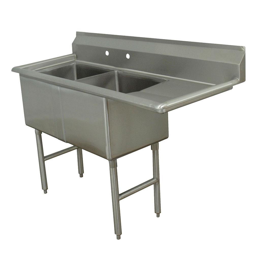 """Advance Tabco FC-2-1818-18R 56.5"""" 2-Compartment Sink w/ 18""""L x 18""""W Bowl, 14"""" Deep"""