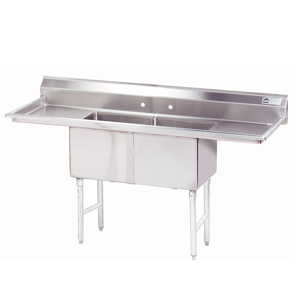 "Advance Tabco FC-2-1818-18RL-X 72"" 2-Compartment Sink w/ 18""L x 18""W Bowl, 14"" Deep"