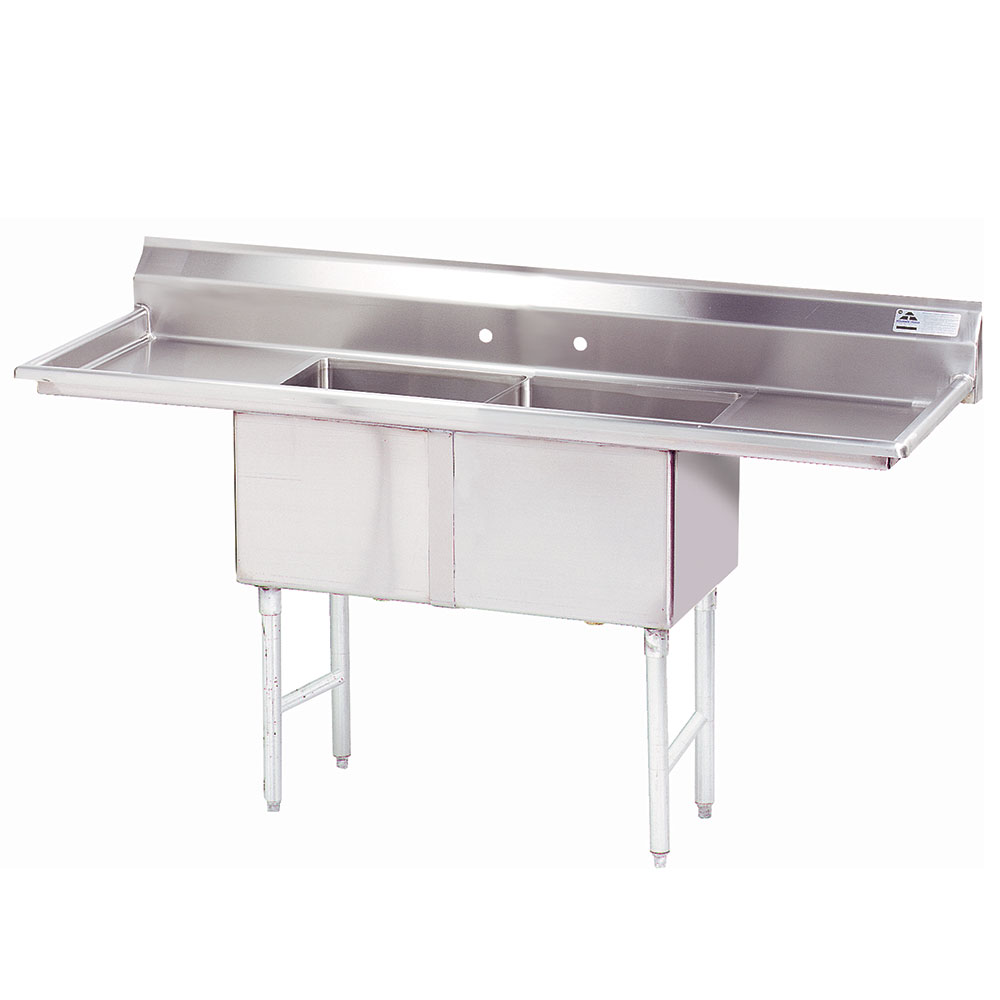 "Advance Tabco FC-2-1818-24RL-X 84"" 2-Compartment Sink w/ 18""L x 18""W Bowl, 14"" Deep"