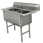 """Advance Tabco FC-2-1824 41"""" 2-Compartment Sink w/ 18""""L x 24""""W Bowl, 14"""" Deep"""