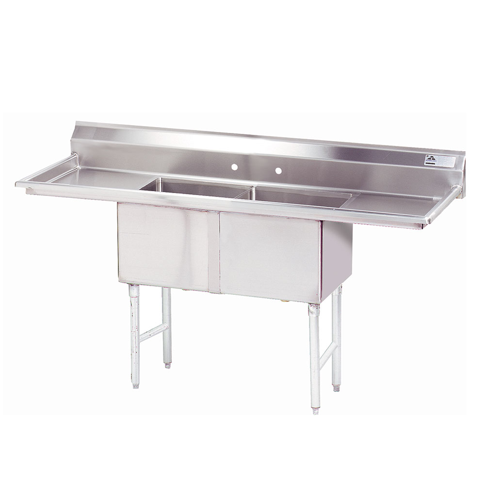 "Advance Tabco FC-2-1824-18RL 72"" 2-Compartment Sink w/ 18""L x 24""W Bowl, 14"" Deep"