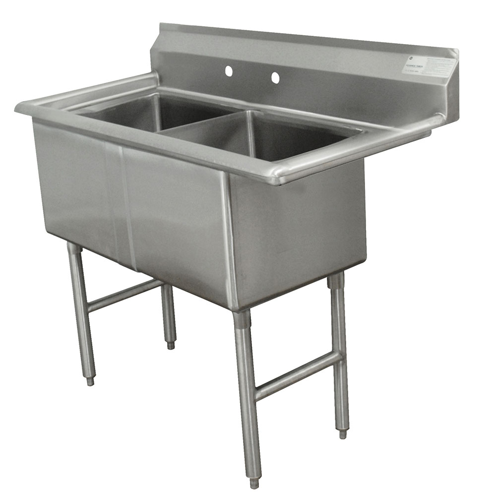"Advance Tabco FC-2-1824 41"" 2-Compartment Sink w/ 18""L x 24""W Bowl, 14"" Deep"