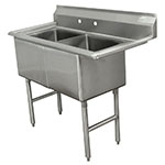 "Advance Tabco FC-2-2424 53"" 2-Compartment Sink w/ 24""L x 24""W Bowl, 14"" Deep"