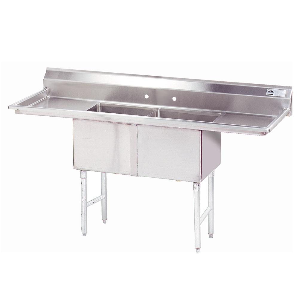 """Advance Tabco FC-2-2424-18RL 84"""" 2-Compartment Sink w/ 24""""L x 24""""W Bowl, 14"""" Deep"""