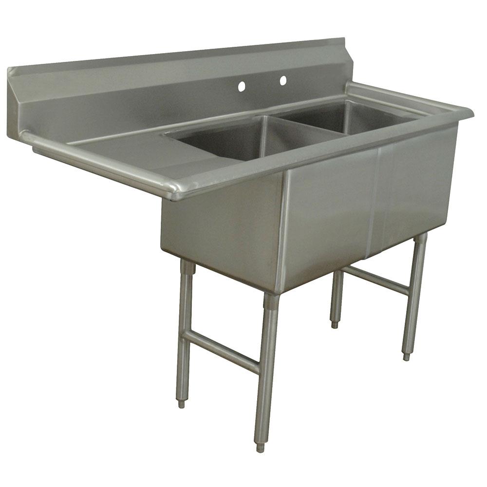 """Advance Tabco FC-2-2424-24L 74.5"""" 2-Compartment Sink w/ 24""""L x 24""""W Bowl, 14"""" Deep"""
