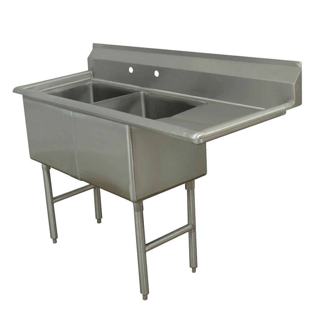"""Advance Tabco FC-2-2424-24R 74.5"""" 2-Compartment Sink w/ 24""""L x 24""""W Bowl, 14"""" Deep"""