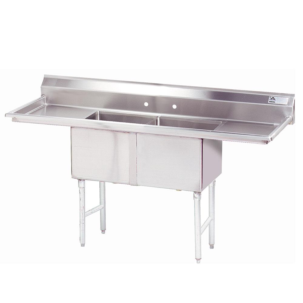 """Advance Tabco FC-2-2424-24RL-X 96"""" 2-Compartment Sink w/ 24""""L x 24""""W Bowl, 14"""" Deep"""