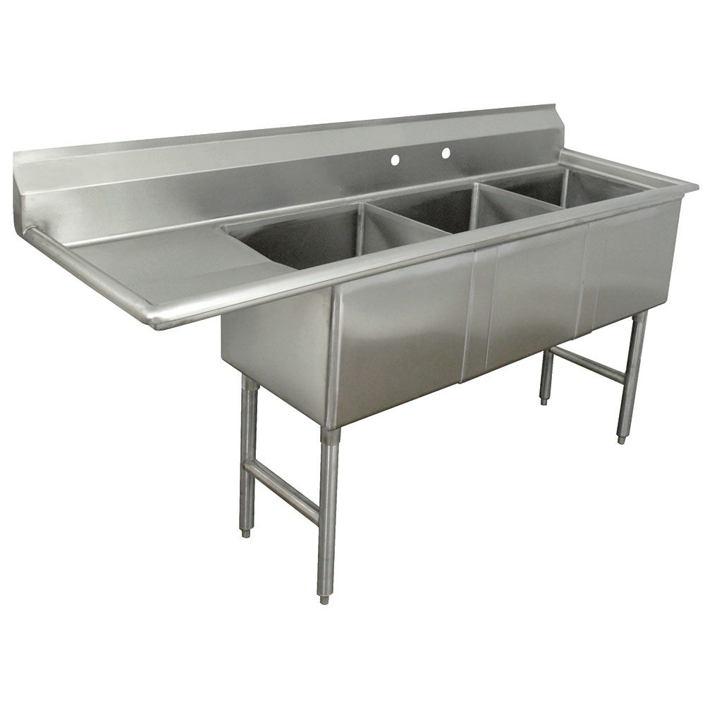 "Advance Tabco FC-3-1620-18L Fabricated Sink - 18"" Left Drainboard, 3-Bowl, 16-ga 304-Stainless Steel, LR"