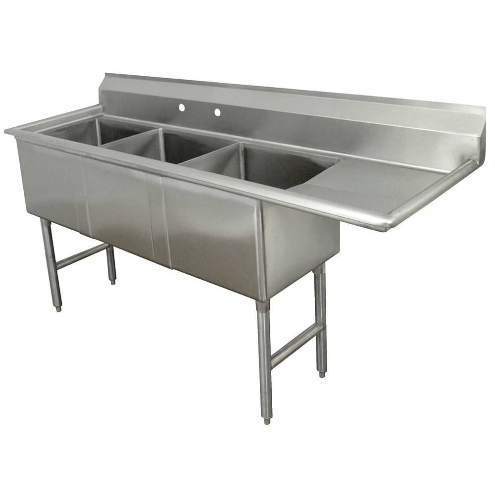"Advance Tabco FC-3-1824-24R 80.5"" 3-Compartment Sink w/ 18""L x 24""W Bowl, 14"" Deep"