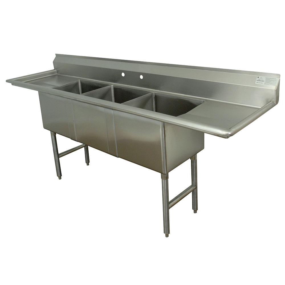 """Advance Tabco FC-3-1824-24RL-X 102"""" 3-Compartment Sink w/ 18""""L x 24""""W Bowl, 14"""" Deep"""