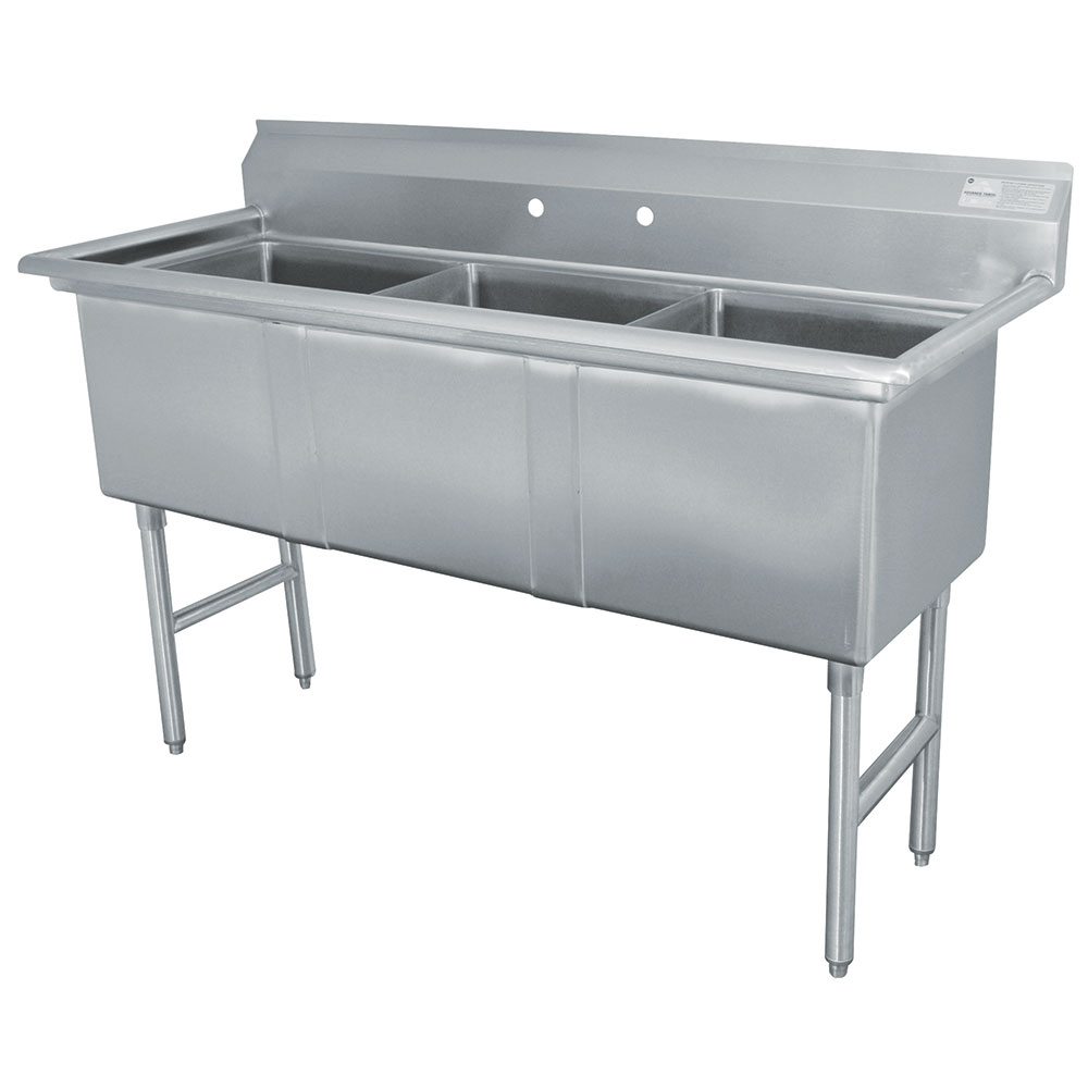 "Advance Tabco FC-3-1824 59"" 3-Compartment Sink w/ 18""L x 24""W Bowl, 14"" Deep"