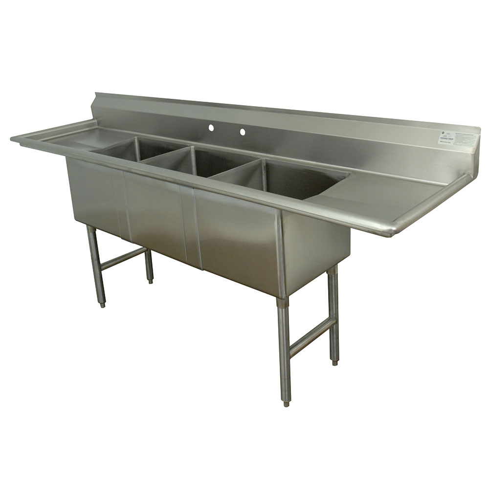 "Advance Tabco FC-3-2030-24RL Fabricated Sink - 24"" Right-Left Drainboard, 3-Bowl, 304-Stainless Steel, LR"