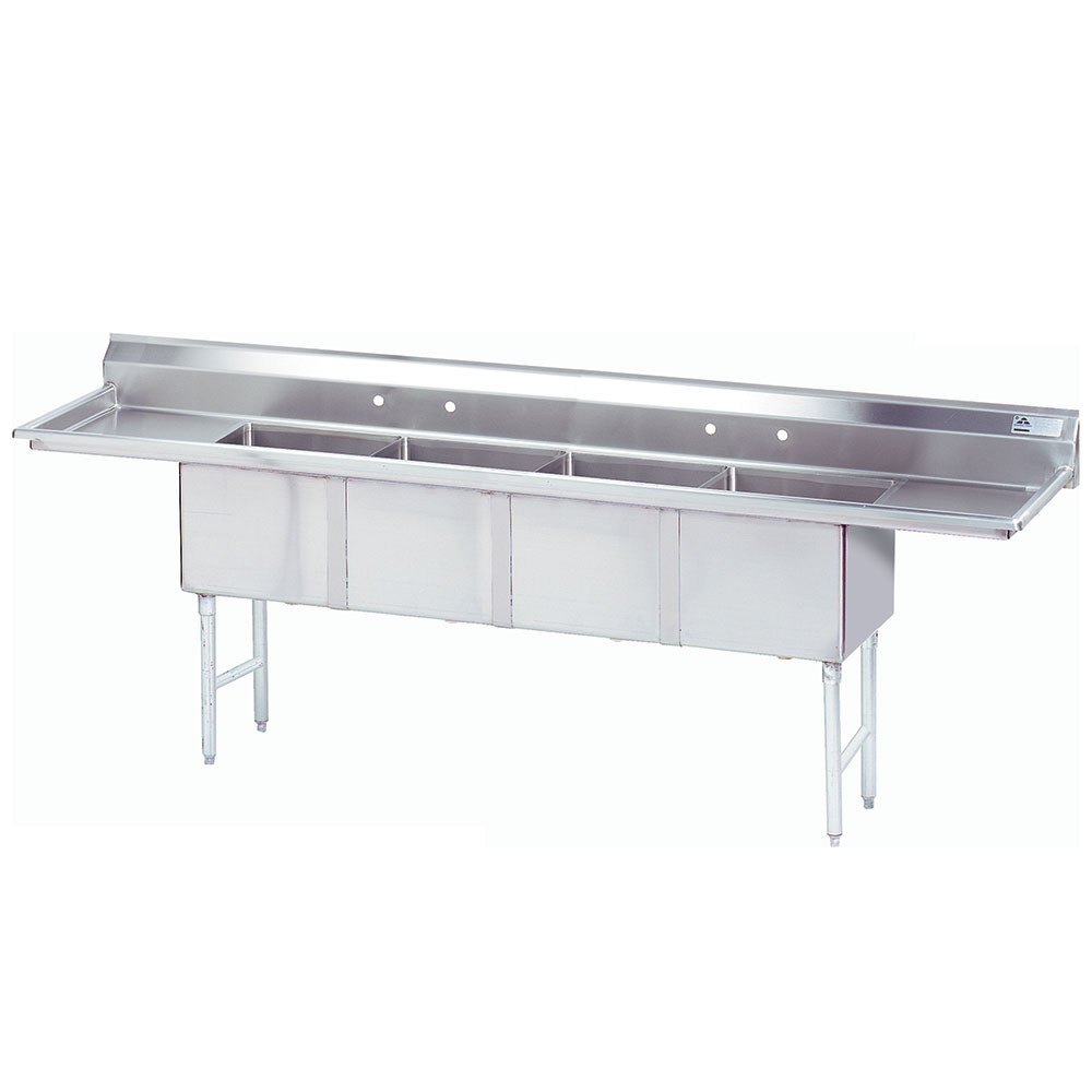 """Advance Tabco FC-4-2424-24RL-X 144"""" 4-Compartment Sink w/ 24""""L x 24""""W Bowl, 12"""" Deep"""