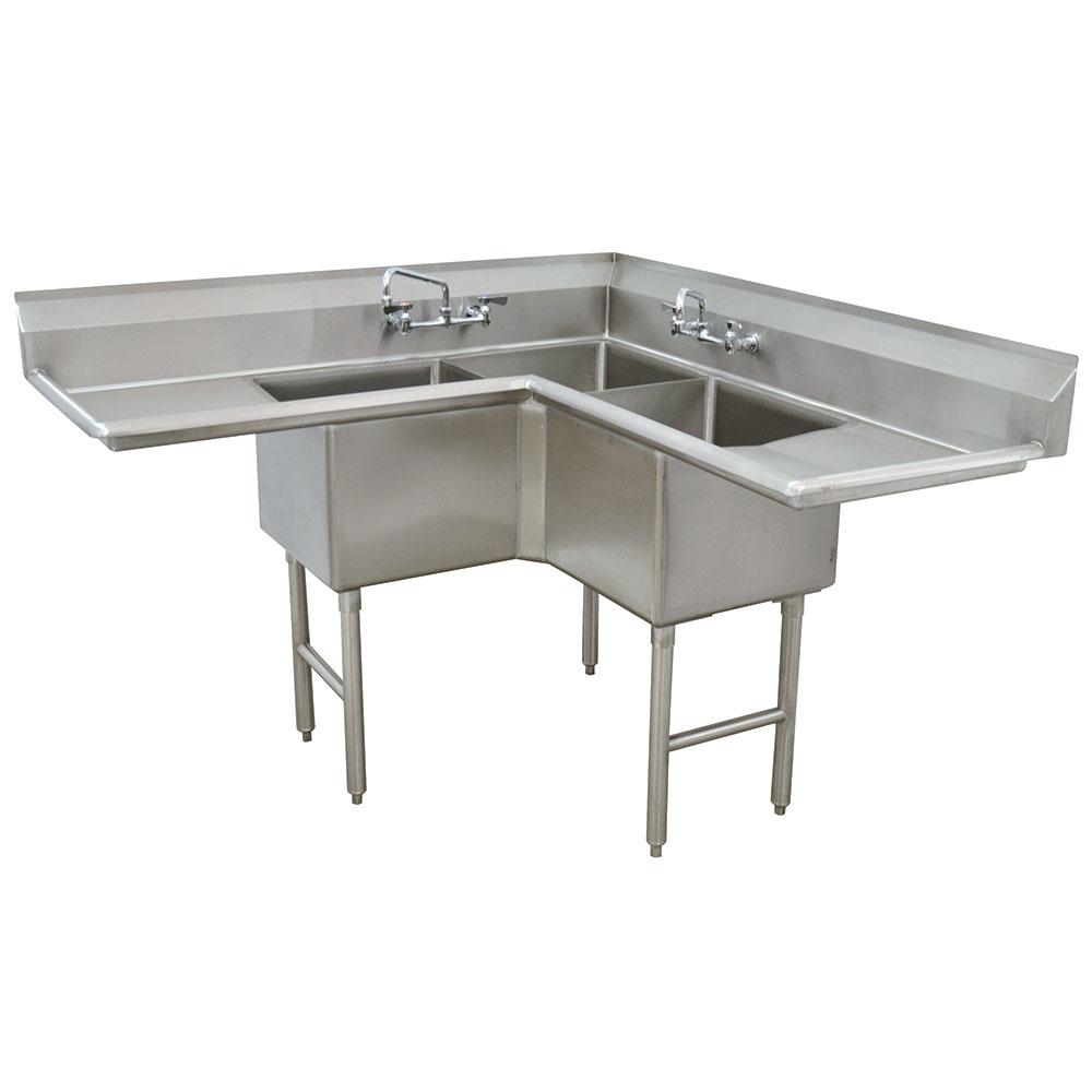 "Advance Tabco FC-K6-18D 57"" 3-Compartment Corner Sink w/ 18"" Bowl, 14"" Deep"