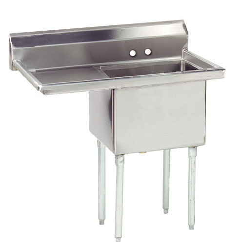 "Advance Tabco FE-1-1824-24L-X 45"" 1-Compartment Sink w/ 18""L x 24""W Bowl, 14"" Deep"