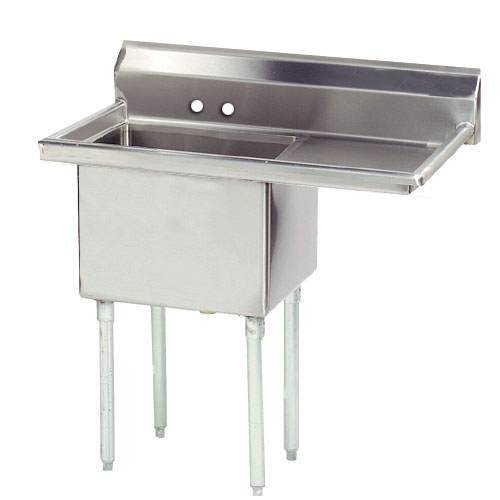 "Advance Tabco FE-1-1824-24R Fabricated Sink - 24"" Right Drainboard, 1-Bowl, 18-ga 304 Stainless Steel"